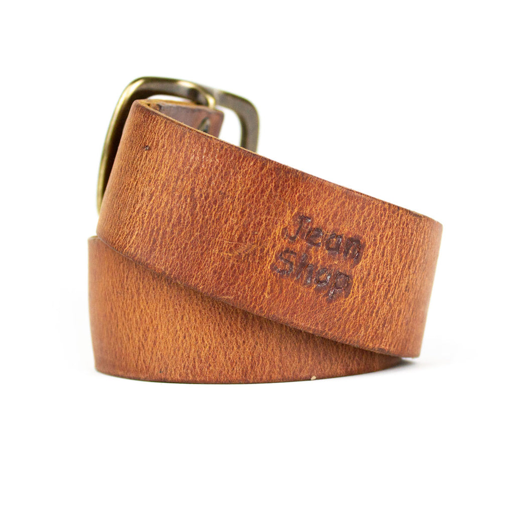 Hand Distressed Leather Belt, Tan - Jean Shop NYC
