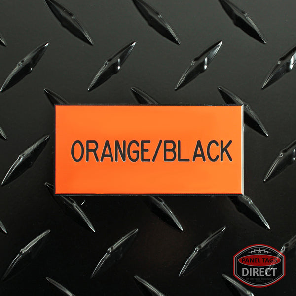 Custom Black Text on Orange Plastic Panel Tags