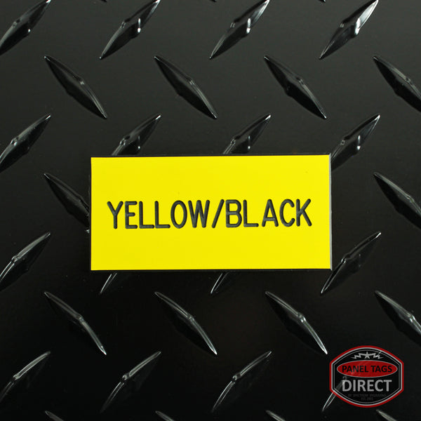 Custom Black Text on Yellow Plastic Panel Tags