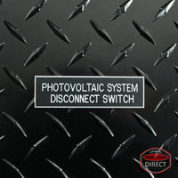 "White on Black Panel Tag - ""Photovoltaic System Disconnect Switch"" (3.5 in x 1 in)"