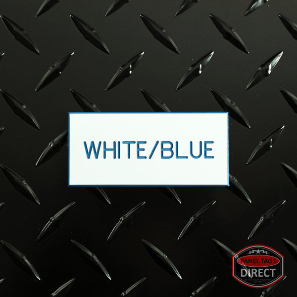 Custom Blue Text on White Plastic Panel Tags