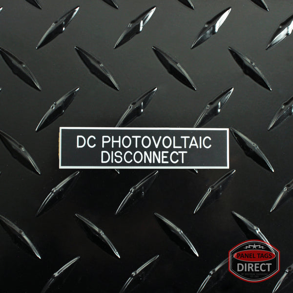 "White on Black Panel Tag - ""DC Photovoltaic Disconnect"""