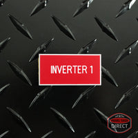 "White on Red Panel Tag - ""Inverter 1"""