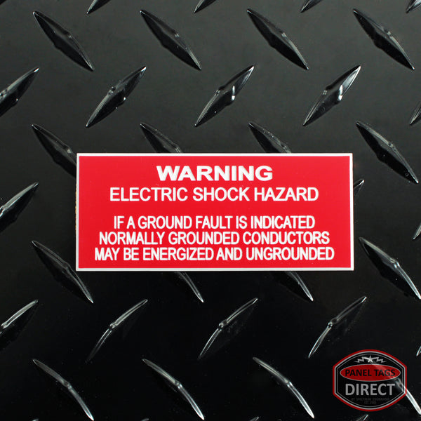 "White on Red Panel Tag - ""Warning Electric Shock Hazard If A Ground..."""