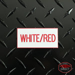 Custom Red Text on White Plastic Panel Tags