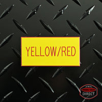 Custom Red Text on Yellow Plastic Panel Tags