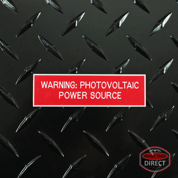 "White on Red Panel Tag - ""Warning: Photovoltaic Power Source"""