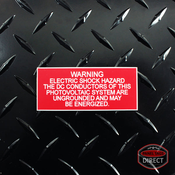 "White on Red Panel Tag - ""Warning Electric Shock Hazard The DC..."""