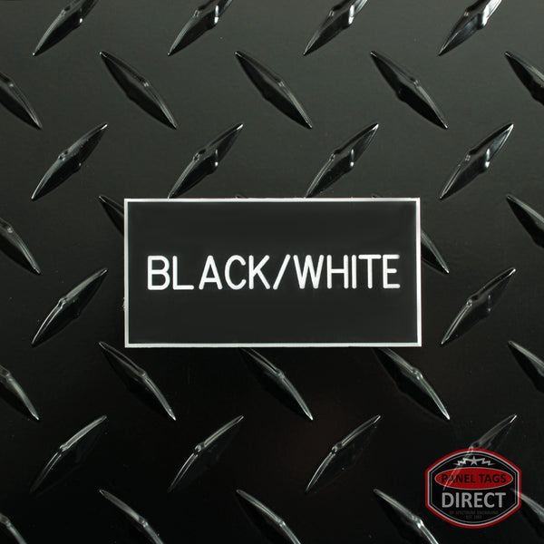 Custom White Text on Black Plastic Panel Tags
