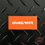 Custom White Text on Orange Plastic Panel Tags