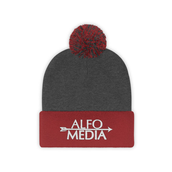 Alfo Media | White Arrow Pom Pom Beanie