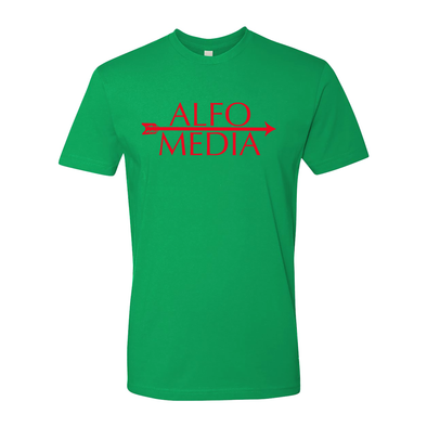 Alfo Media T-shirt - Red on Green - Outloud Merch