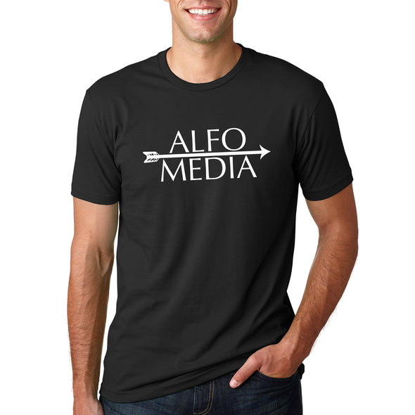 Alfo Media T-shirt - White on Black - Outloud Merch