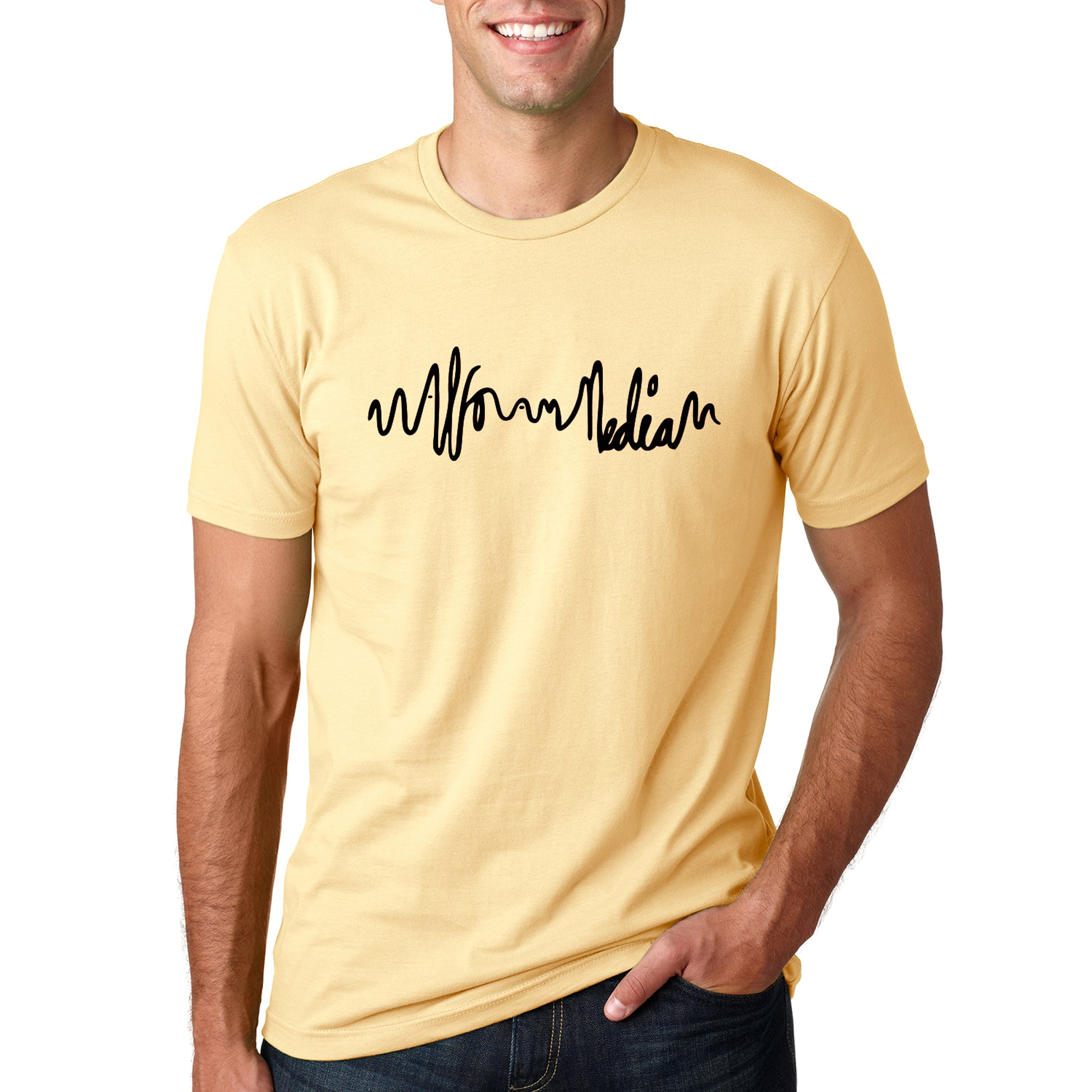 Logo Script Media T-shirt - Black on Yellow