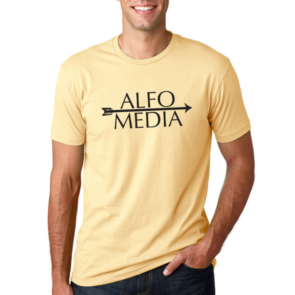 Alfo Media T-shirt - Black on Yellow - outloud-merch