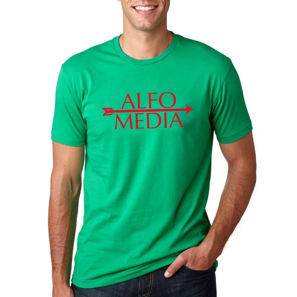 Alfo Media T-shirt - Red on Green - outloud-merch