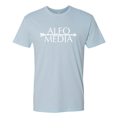 Alfo Media T-shirt - White on Blue - Outloud Merch