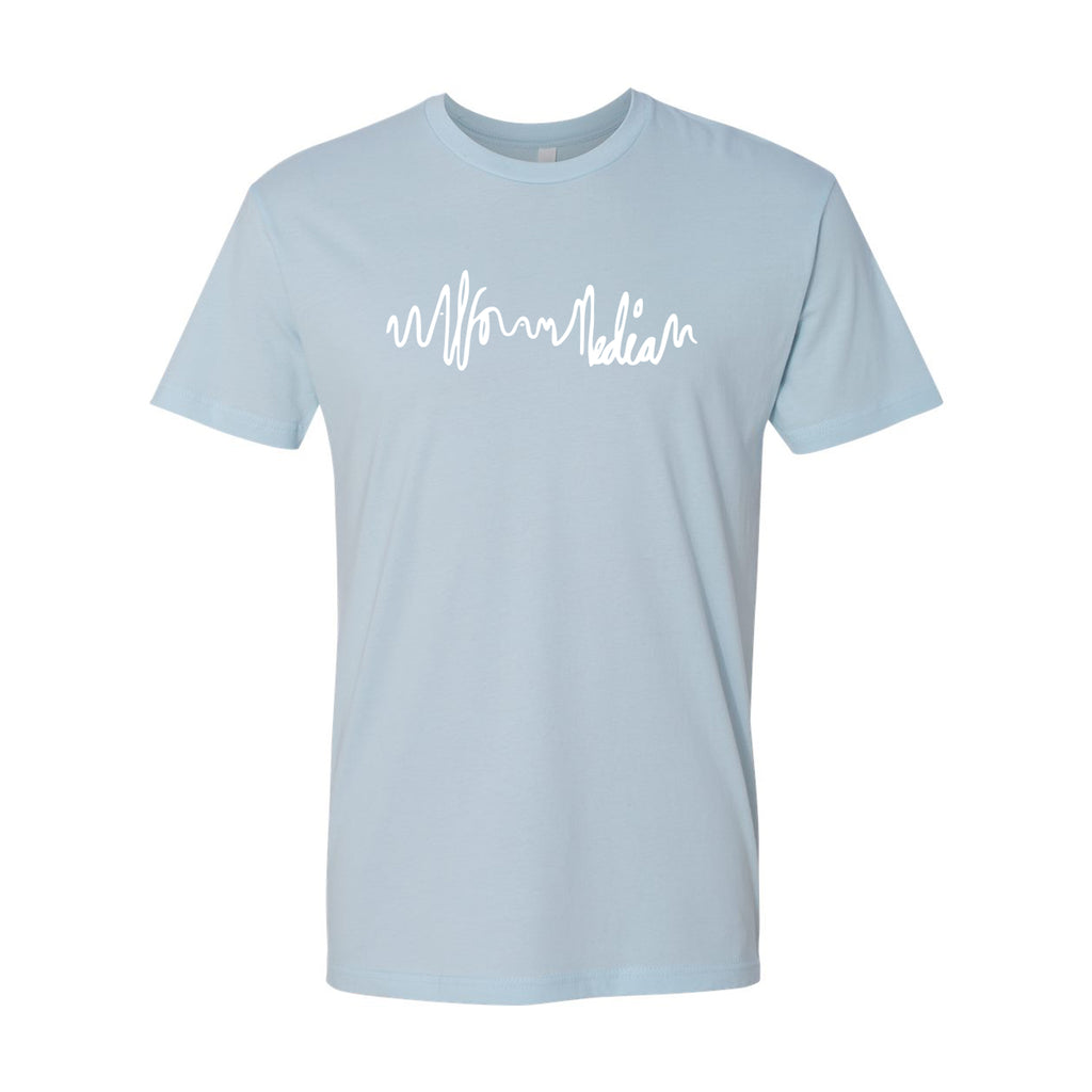 Logo Script  Media T-shirt - White on Blue