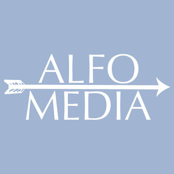Alfo Media T-shirt - White on Blue - outloud-merch