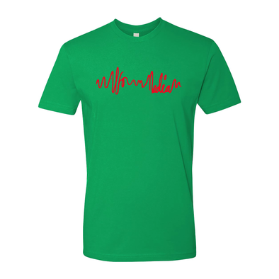 Logo Script Media T-shirt - Red on Green - Outloud Merch