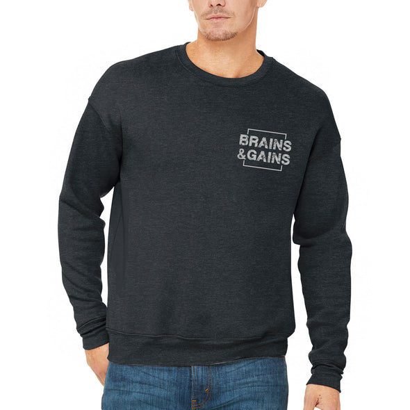 Brains & Gains Canvas Unisex Drop Shoulder Fleece Crewneck - Dark Grey Heather - Outloud Merch