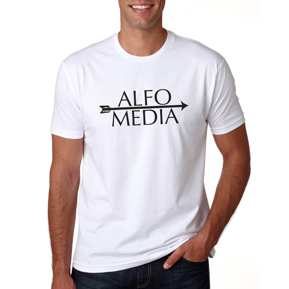 Alfo Media T-shirt - Black on White - outloud-merch