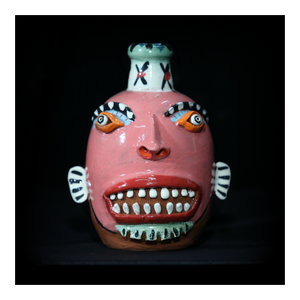 """Pink"" Face Jug with Red Lips"