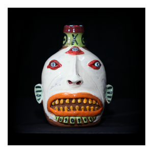 """White, Three Eyed"" Face Jug with Orange Lips"