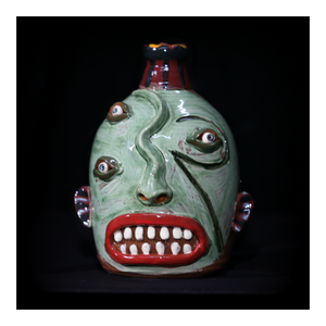 """Green, Triple Eyed"" Face Jug with Red Lips"
