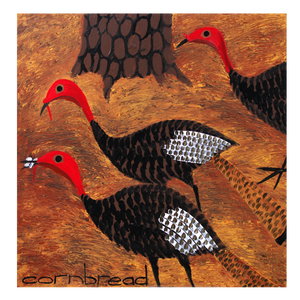 """Three Turkey Hens and a Moth Under a Pine""in Worm Wood Frame"