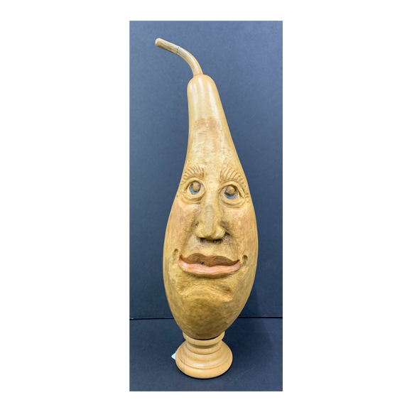 Amused Emoji Carved Gourd