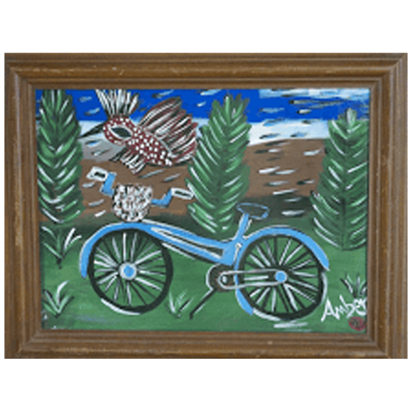 """Blue Bicycle with a Red Bird"""