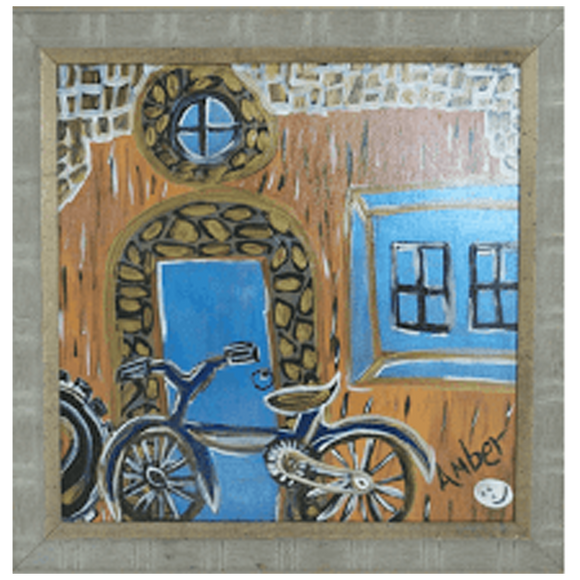 """Blue Bicycle with the Gold Set"""