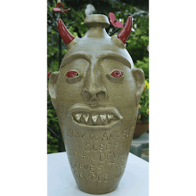 """Dripping Red Eye Devil"" Face Jug"