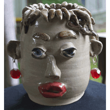 """Face Pot w/Ear Rings"" Pottery"