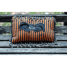 """Black Bat on Stripes"" Mini Pillow"