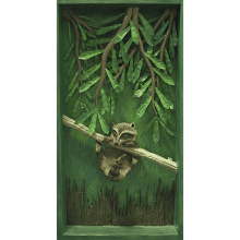 """Coon on a Limb"" in a Wooden Shadow Box"