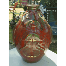 """Red & Green Face Jug"""