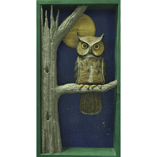 """Owl in the Full Moon"" in Wooden Shadow Box"