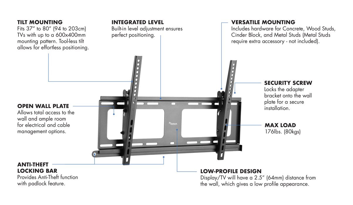 "Starburst SB-3780WMT-W PRO SERIES ELITE UL Listed Outdoor Rated Anti Theft Tilting TV Wall Mount With Weather Proof Coating And Stainless Steel Hardware 176LB Capacity For TV Display 37"" 40"" 43"" 49"" 50"" 55"" 65"" 70"" 75"" 80"""