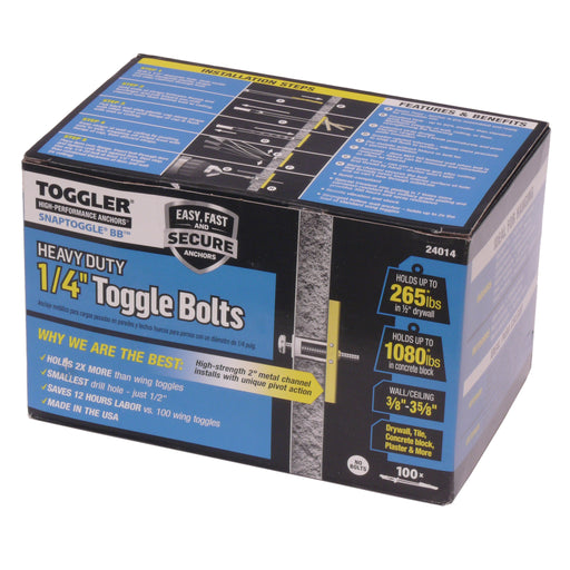 "TOGGLER SNAP TOGGLE: 3/8""-3.58"" Grip 1/4""-20 UND BOX Of 100"