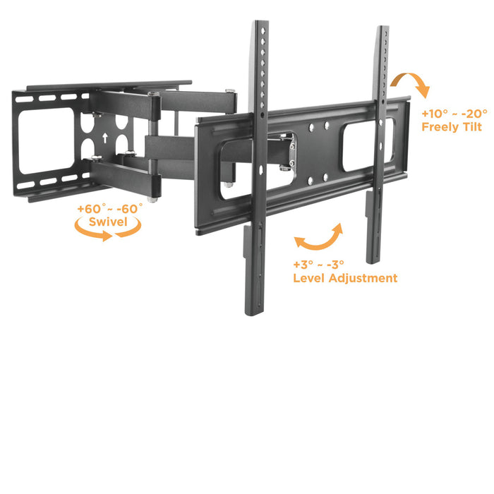 SB-3765ART-D-W Outdoor Articulating Dual Arm TV Wall Mount With Weather Proof Coating And Stainless Steel Hardware - UL Approved US and Canada