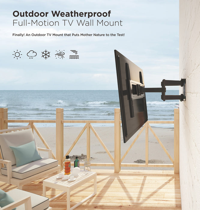 "Starburst SB-3765ART-D-W OUTDOOR RATED Articulating Anti Theft TV Wall Mount comes with Weather Proof Coating (passes 90H Salt Spray Test) & 304 Marine Grade Stainless Steel Hardware 110LB Capacity For TV Display 37"" 40"" 43"" 49"" 50"" 55"" 60"" 65"""