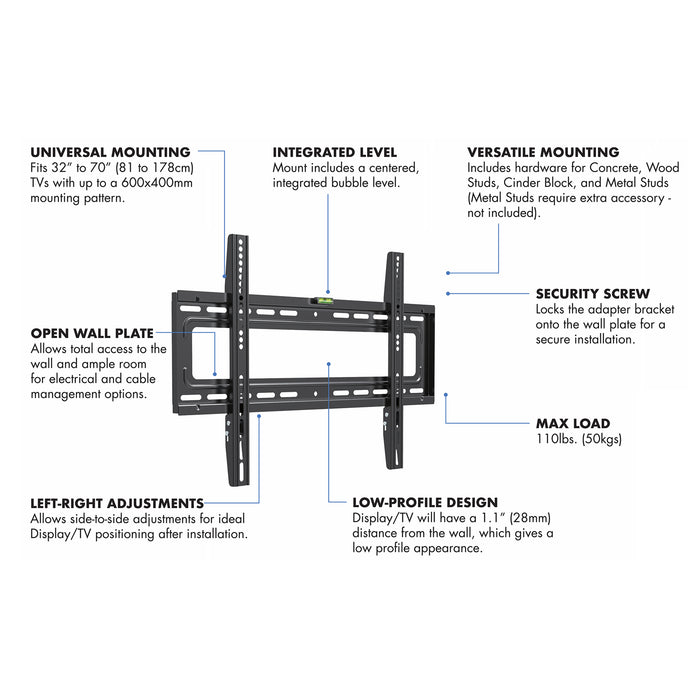 "Starburst SB-3270WM PRO SERIES ELITE Hospitality Grade Fixed Wall Mount For TV Display 32"" 37"" 40"" 43"" 49"" 50"" 55"" 65"" 70"""
