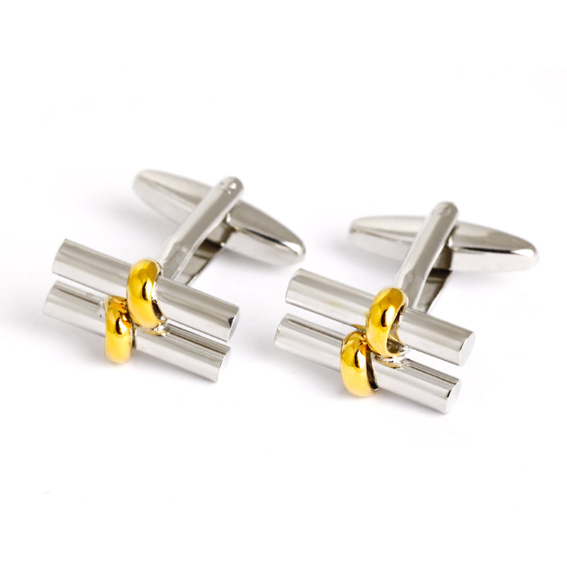 DOUBLE BAR SILVER GOLD CUFFLINKS