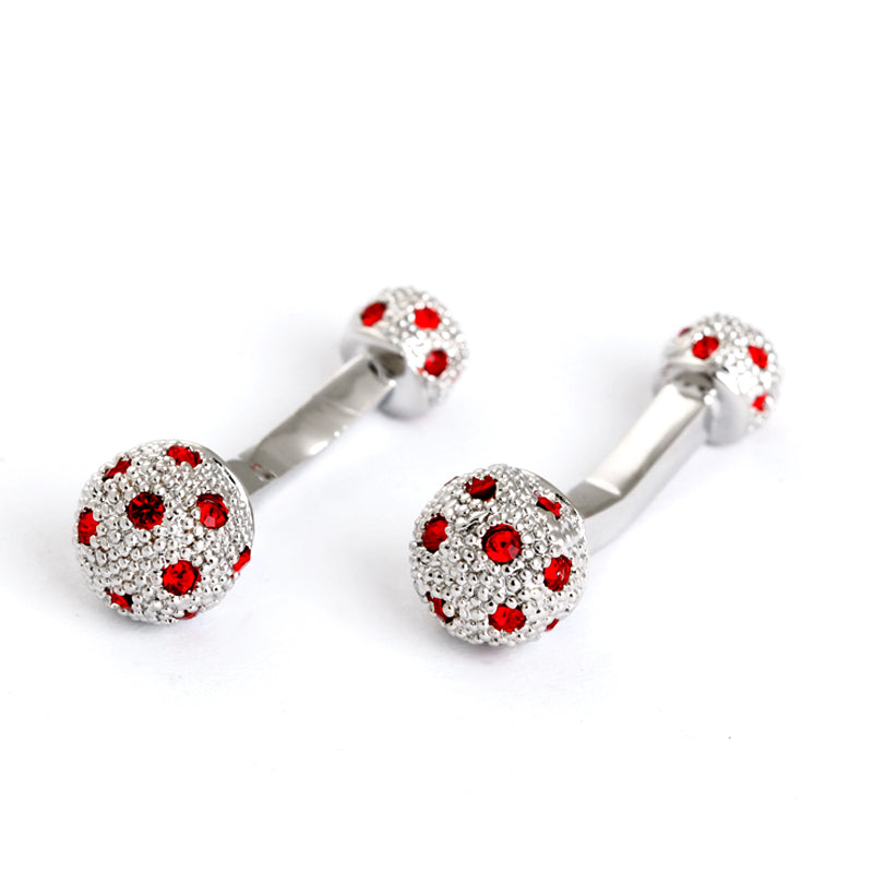 RED STONE TEXTURED METAL BARBEL CUFFLINKS