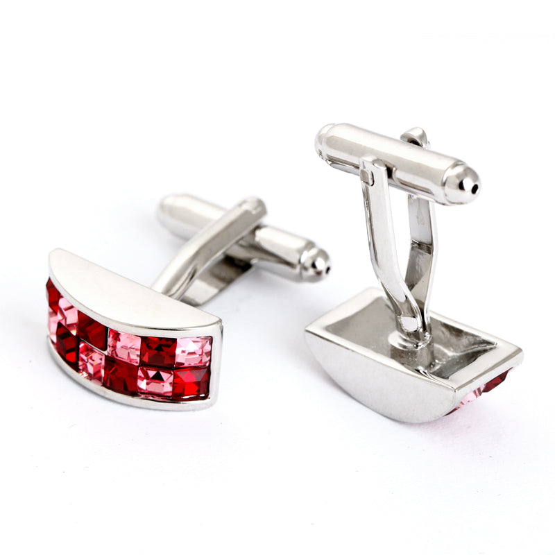 EXQUISITE RED STONE CURVED SILVER CUFFLINK