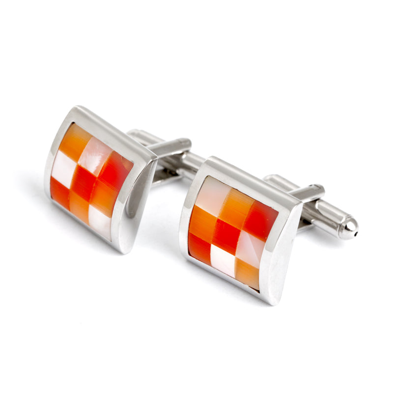 ORANGE WHITE SHELL CUFFLINK