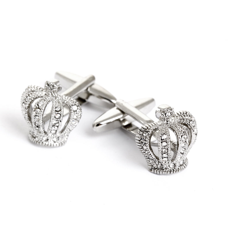 ROYAL CROWN CRYSTAL SILVER CUFFLINK