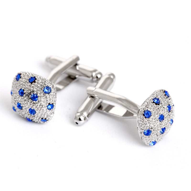 JEWEL ENCRUSTED SILVER TEXTURED CUFFLINKS